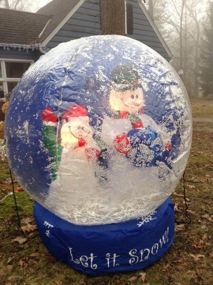 4 foot inflatable christmas snow globe yard decor for Outdoor christmas globes