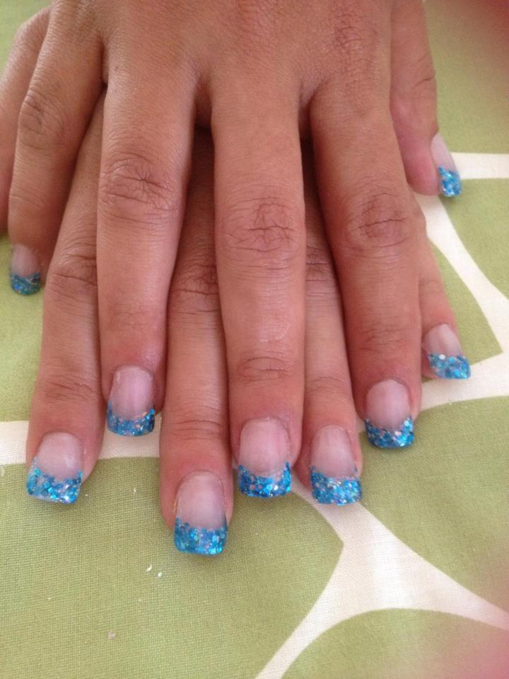 blue glitter tip | my nail art designs | Pinterest