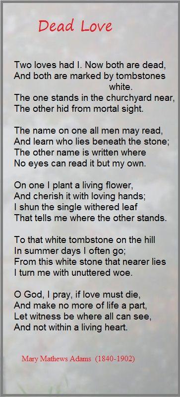 Dead Love ... Mary Mathews Adams | Poetry & Poets | Pinterest