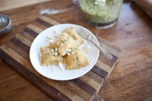 Brussel Sprout, Fig, and Feta Ravioli
