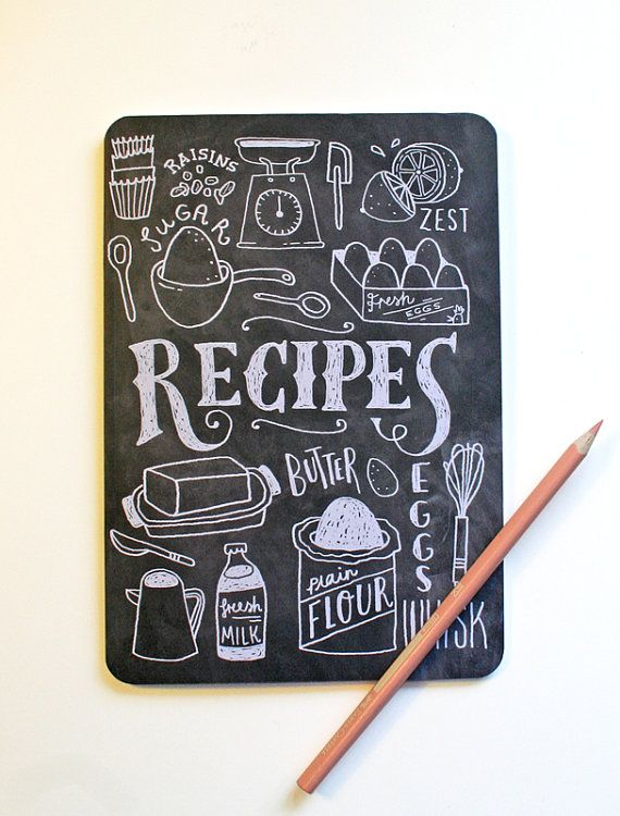 A5 Blank Notebook Hand Lettered Recipe Book