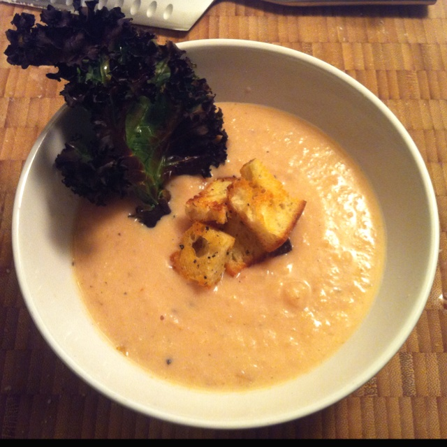Spice rutabaga and potato soup with rosemary crouton and lemon kale ...