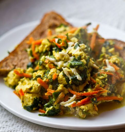 Tofu Scramble. Option to saute in seasoned water instead of oil.