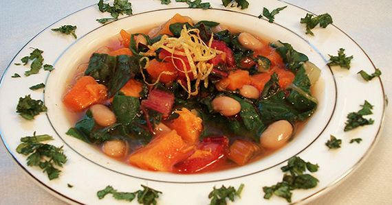 Sweet Potato Soup With Cannelini Beans and Rainbow Chard