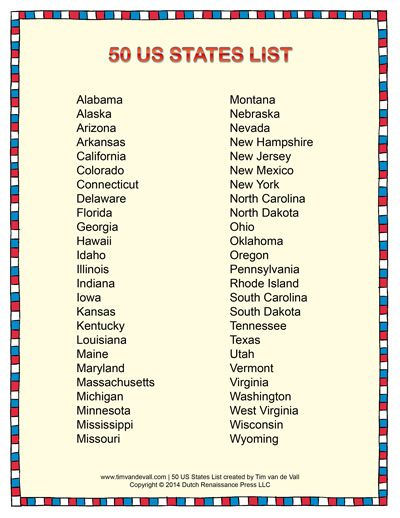 List Of States In Alphabetical Order Social Stu S