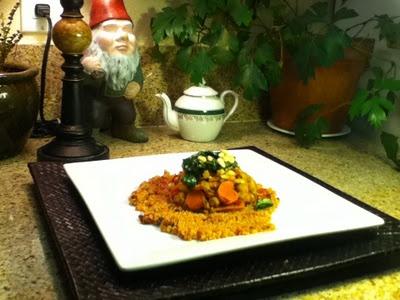 Vegan- Moroccan Chick Peas over Sun dried Tomato Stewed Quinoa topped ...