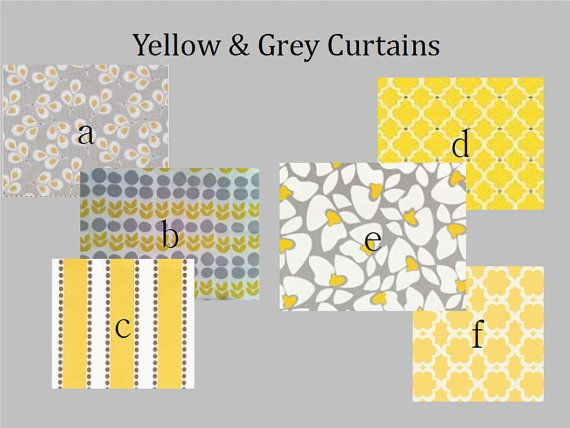 Curtain panels pair lined yellow grey 25 x 84