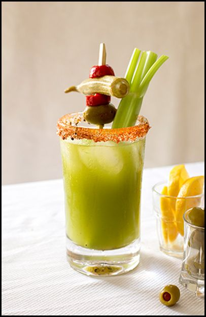 bloody mary - with green tomatillo base. Recipe makes 12.