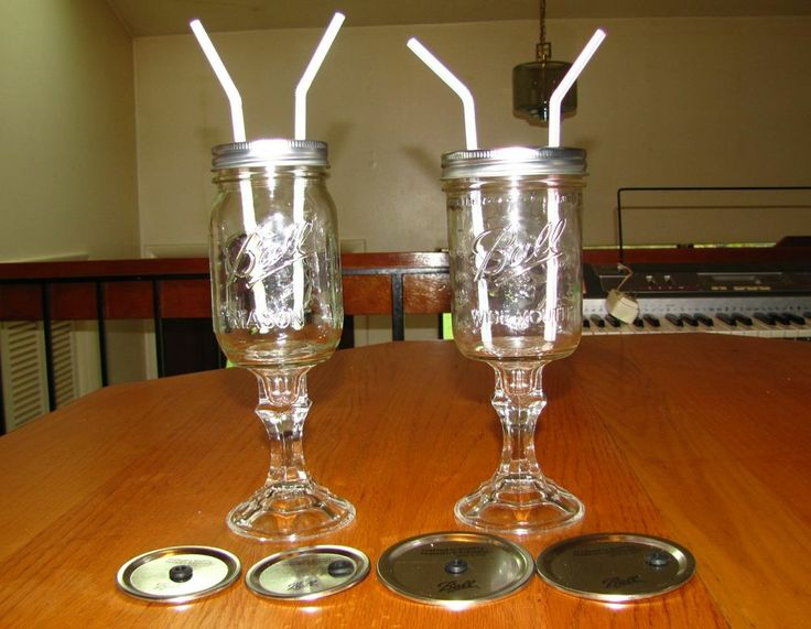 Glass stemmed mason jar sipper tumbler sippy to go cup reg wide 16 - Stemmed mason jars ...