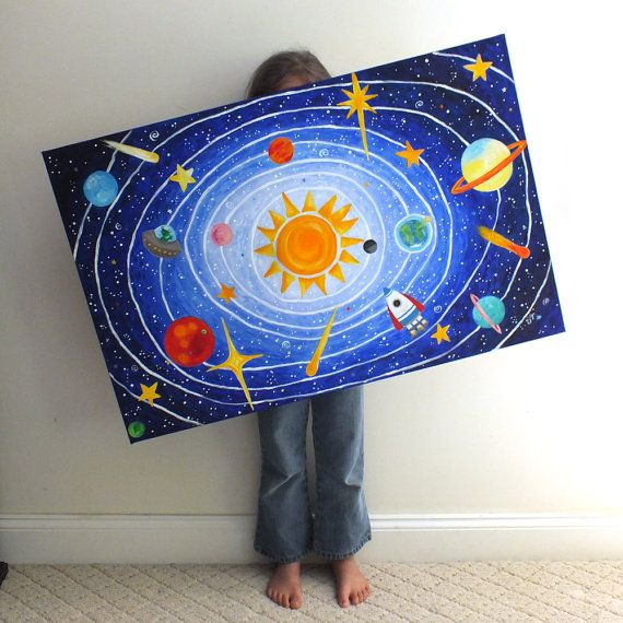 Childrens Wall Art Solar System No 5 36x24 Acrylic Space Themed Painting For Kids Rooms Or