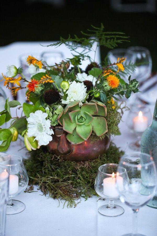 Copper and moss wedding centerpiece hope chest pinterest