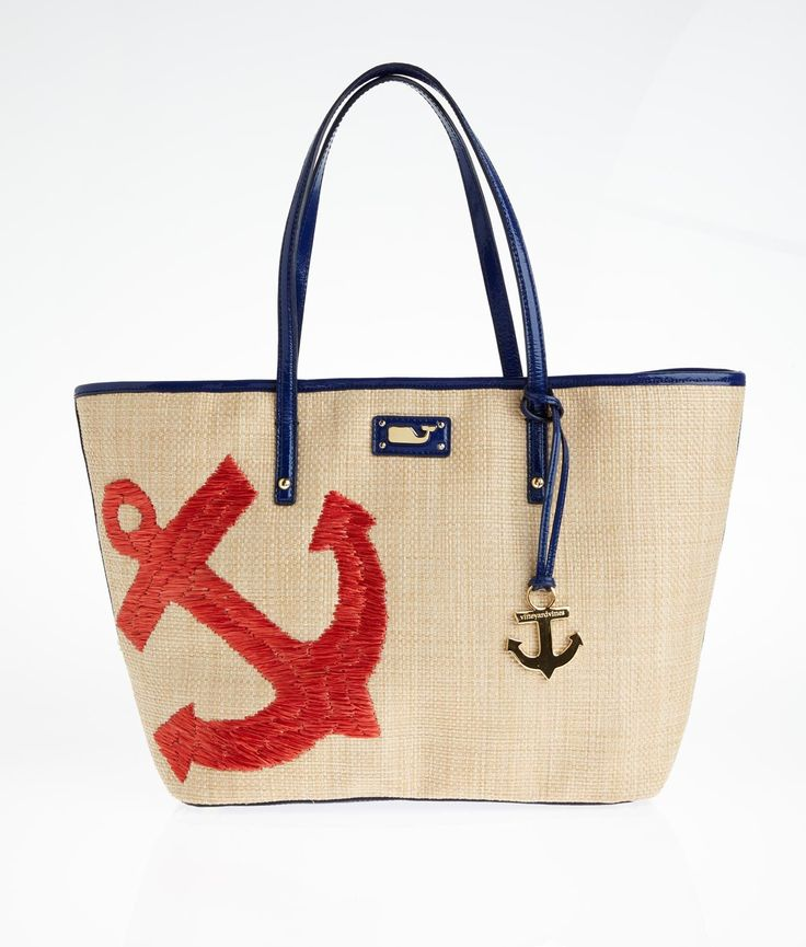 new vineyard vines anchor straw tote bag w gold whale