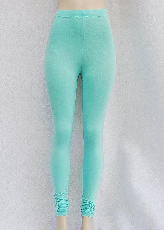 Turquoise Knit Leggings Eco Clothing Organic Womens Clothing Pants on