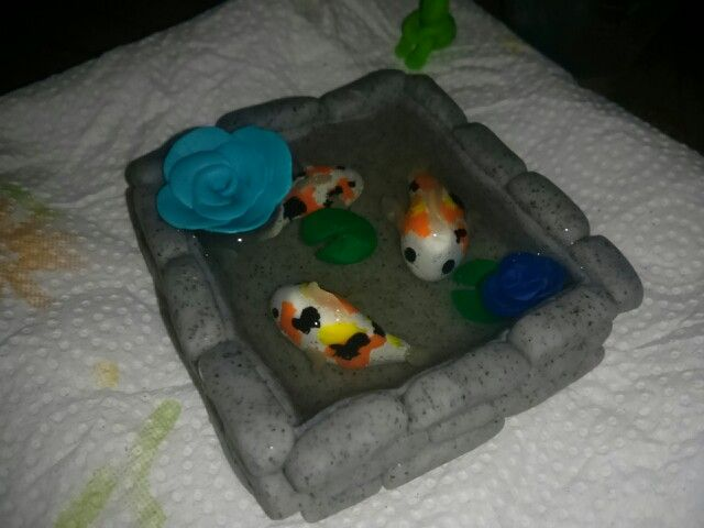 Polymer clay koi fish pond polymer clay ideas pinterest for Clay koi fish