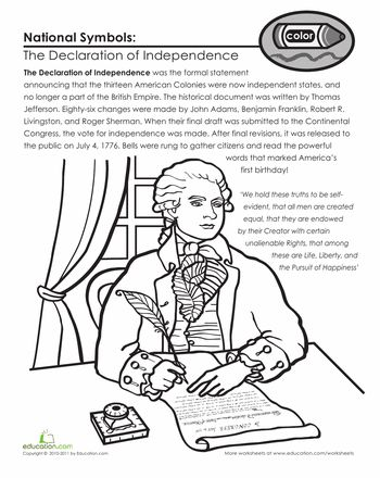 9. the declaration of independence crossword