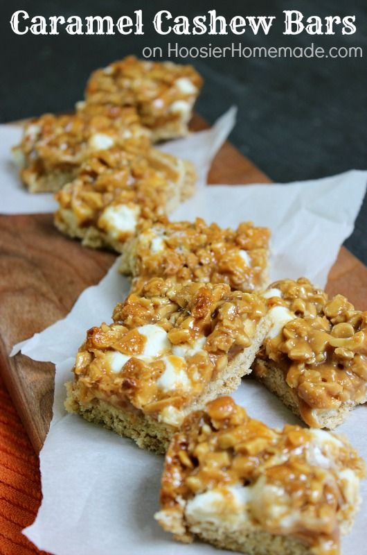 Caramel Cashew Bar Cookies :: Cookie crust topped with marshmallows ...