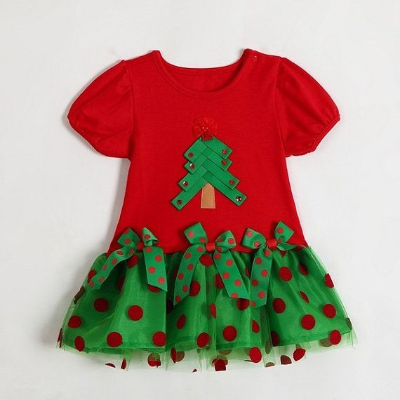 Sleeves red green christmas tree girls christmas dress baby inf
