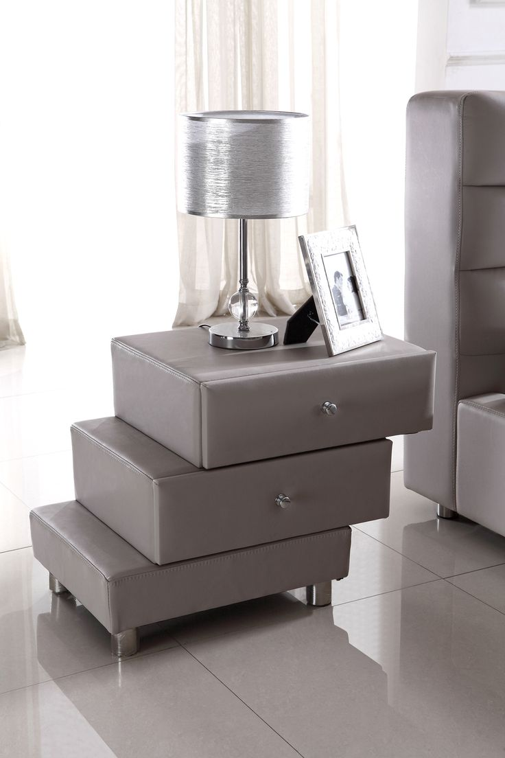 Modern gray nightstand modern bedroom pinterest for Modern bedside tables nightstands
