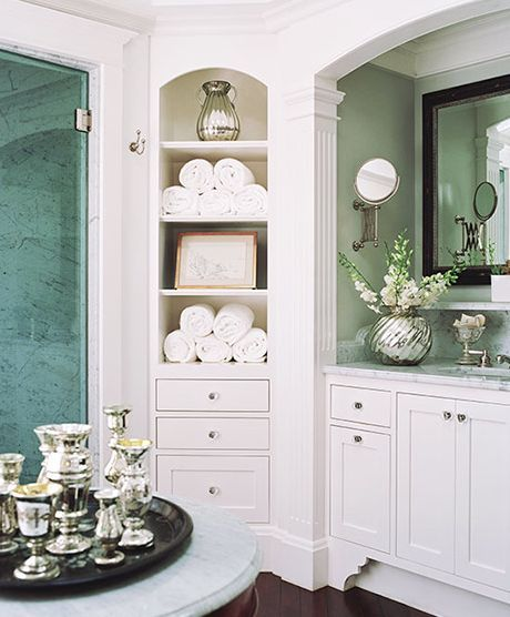 love this built in cabinet in this master bathroom bathrooms