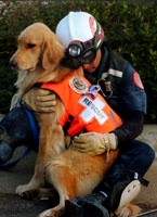 "Anthony ""Skip"" Fernandez III rests and protects his search and rescue canine, Aspen, after a twelve-hour shift searching for survivors of the Oklahoma City bombing"