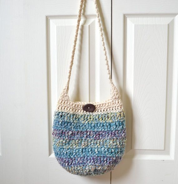 Crochet Hobo Bag Sling Bag Pastel Cream Blue Purple by 2LeftHandz, $28 ...