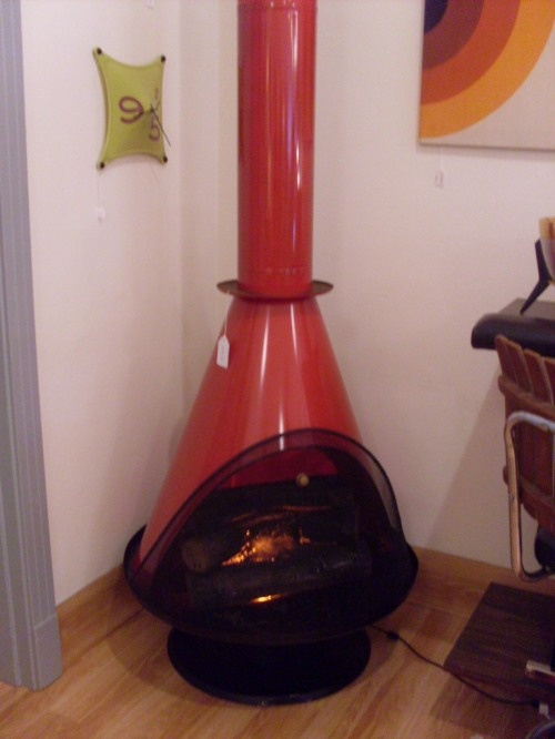 Amazing retro stand alone faux fireplace $775