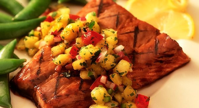 ... tangy flavor to grilled salmon and the fresh pineapple salsa topping