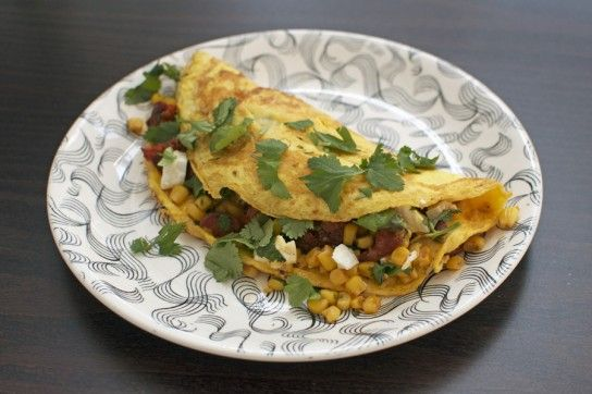 Chorizo, corn and feta brunch omelette