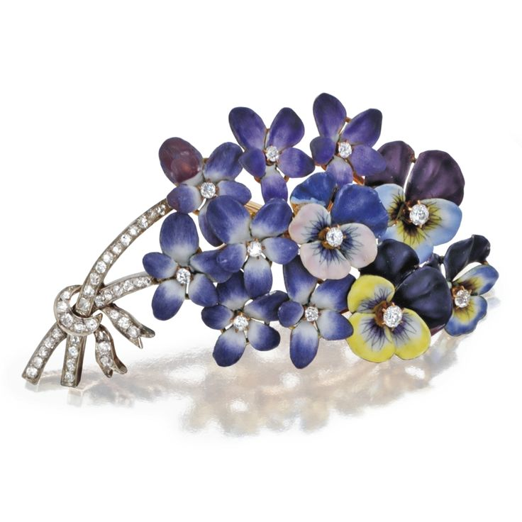 GOLD, PLATINUM, ENAMEL AND DIAMOND FLOWER BROOCH, CIRCA 1900    Designed as a bouquet of pansies and purple flowers, set with old mine, single-cut and old European-cut diamonds weighing approximately 1.90 carats, variously applied with enamel, one diamond missing.