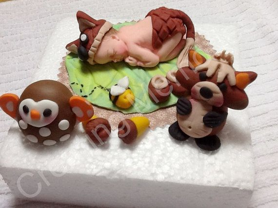 forest friends baby shower cakes