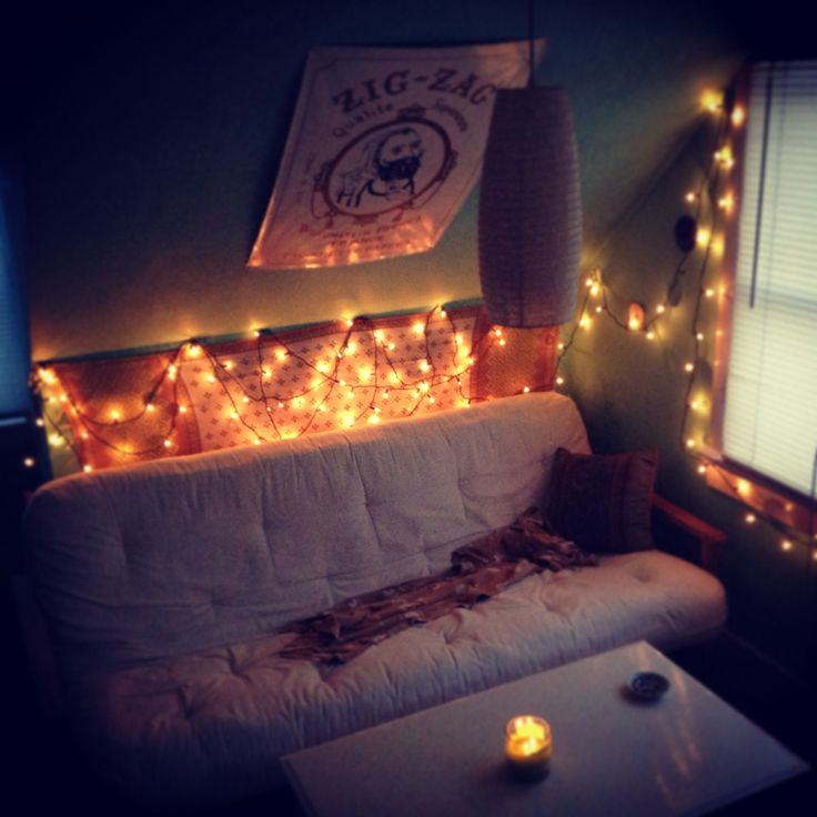 lights string lights bedroom cozy boho cute bed pinterest