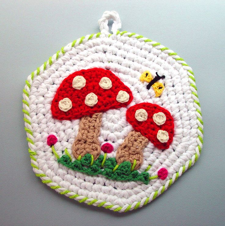 Crocheting Pot Holders : ... something like this! - Crochet Mushrooms Pot Holder by meekssandygirl