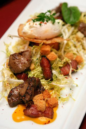 Salade Lyonnaise Frisee salad, chicken livers, bacon, poached egg ...