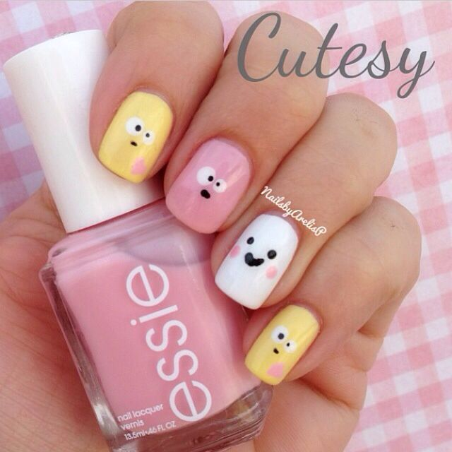 Emoji Nail Art Tutorial : Cute emoji face nail art design inspirations