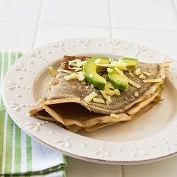 Buckwheat Crepes with Avocado & Aged Cheddar Cheese