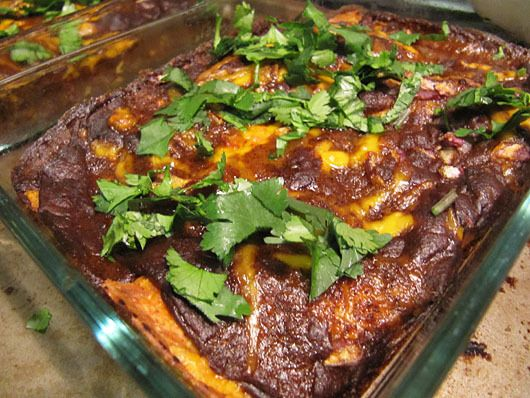 veggie and cheese enchiladas with vegetarian chili gravy