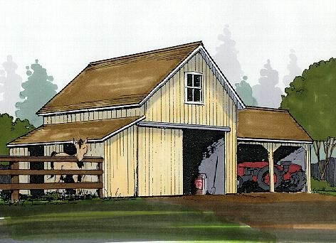 Small barn with open shed on side for the home pinterest for Two stall barn plans