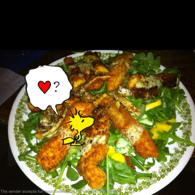 Panko salmon on arugula salad with wasabi dressing ~~~ magnificent ...