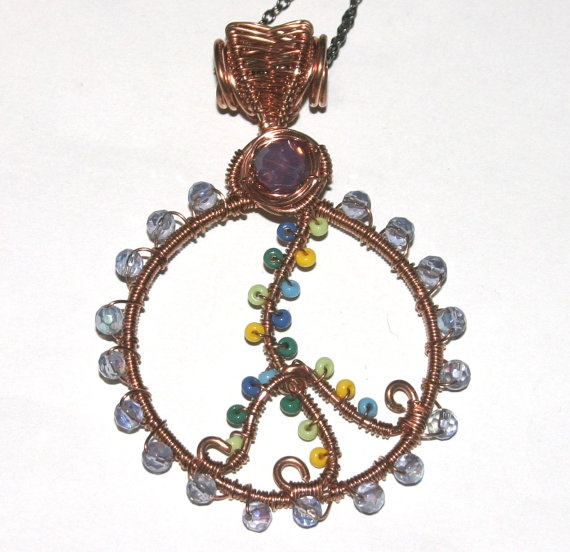 Peace Sign Necklace Wire Wrapped Copper by groovychickjewelry, $31.00