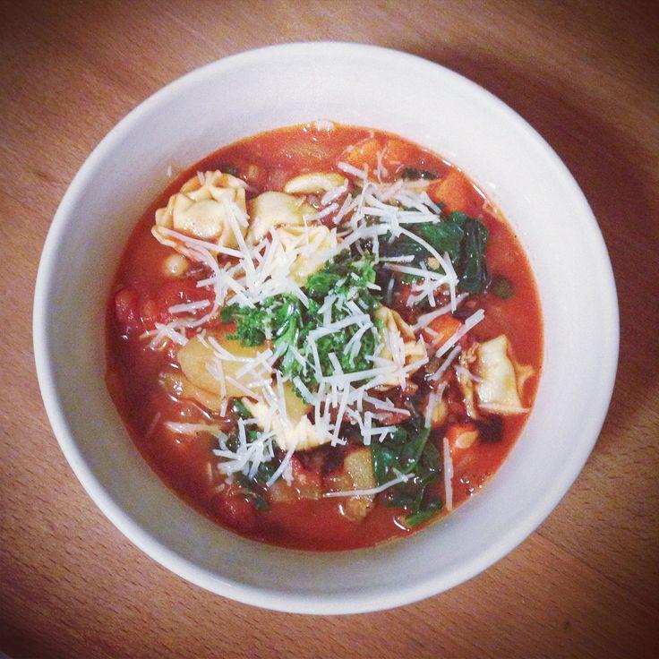 recipe // smoky minestrone with tortellini and pesto