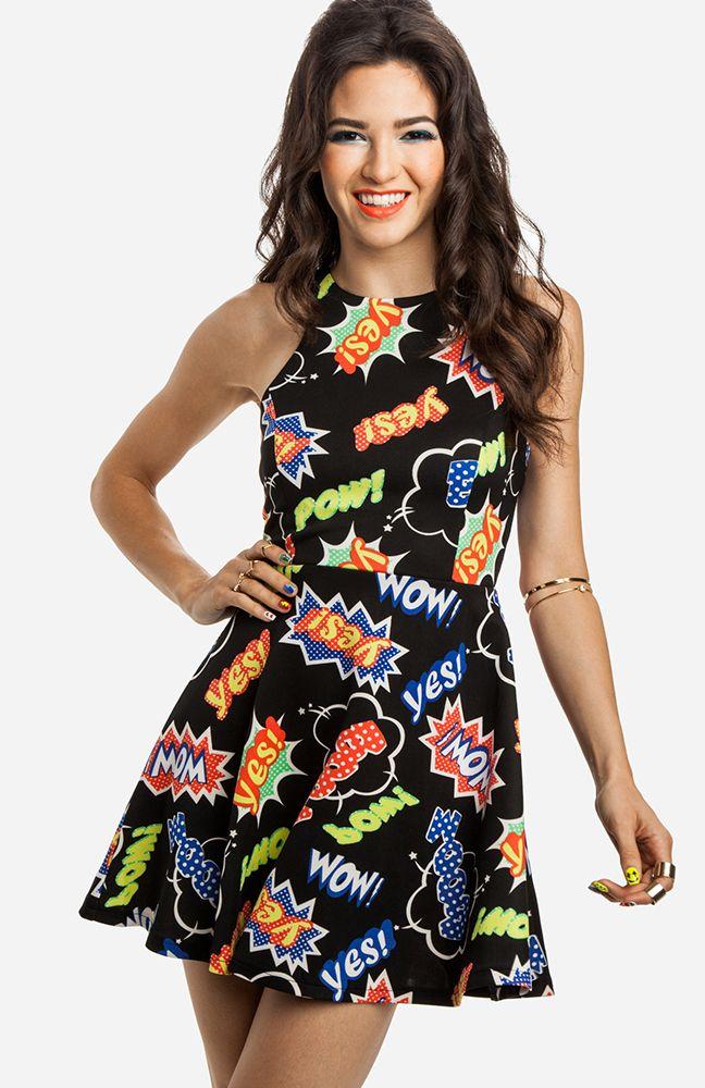 Pop art fit and flare dress 50 dresses pinterest