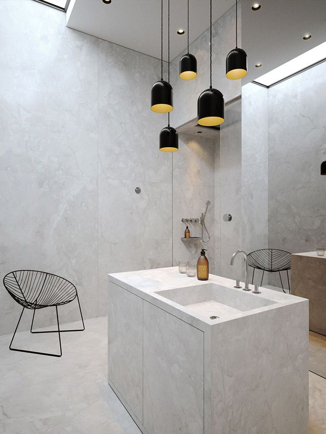 beautiful modern gray bathroom with awesome pendants