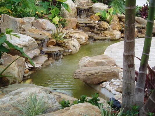 Small Backyard Garden Waterfall Springtime In My Town