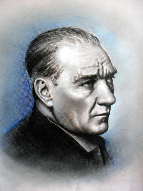 Pastel Atatürk Portresi , Ressam Rukiye Garip