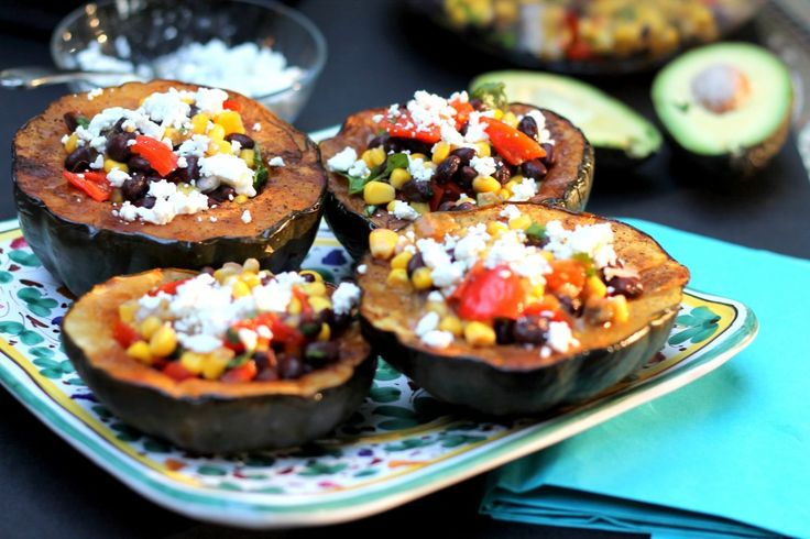 Stuffed Acorn Squash with Goat Cheese...or try the roasted squash ...