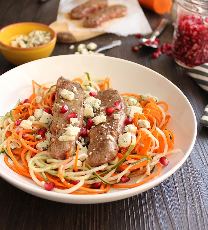 Pomegranate-Maple-Cider Carrot & Cucumber Noodles with Chili Beef and ...