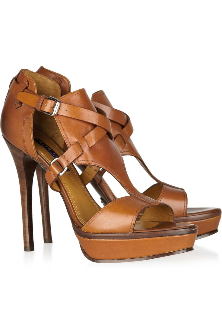 "RALPH LAUREN COLLECTION Bailee leather sandals $695 // {with this price, should be filed under ""ha. yeah right. never play that much for sandals""}"