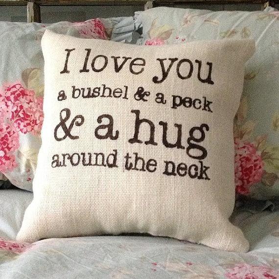 Burlap pillow quot i love you a bushel and peck quot valentines baby