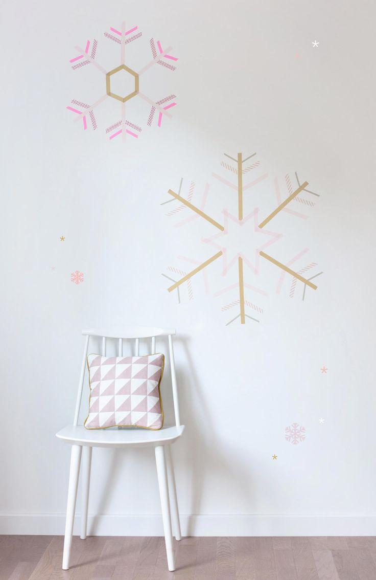マスキングテープ壁デコ雪の結晶