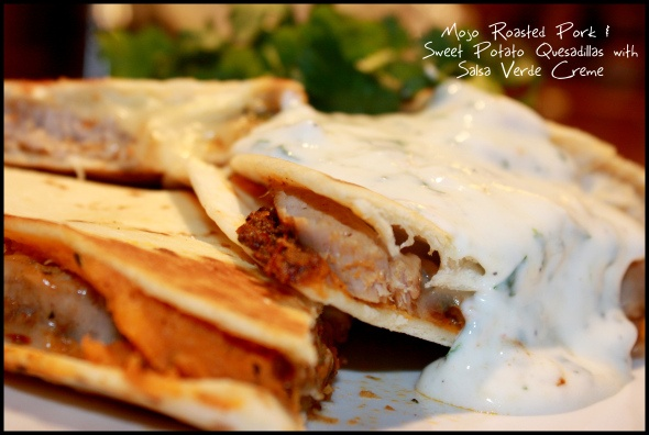 Roasted Pork Tenderloin and Sweet Potato Quesadillas with Salsa Verde ...